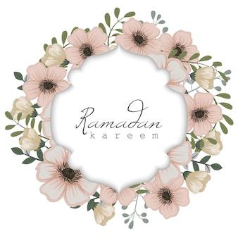 Tarjeta de felicitación de ramadán kareem con marco de flores
