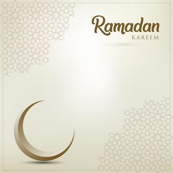 Tarjeta de felicitación de ramadán kareem con media luna dorada adornada