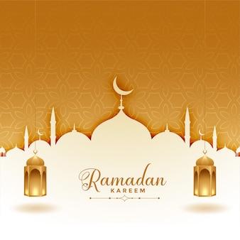 Tarjeta de felicitación de ramadán kareem con mezquita y linternas