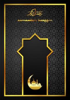 Tarjeta de felicitación de ramadán kareem con mezquita