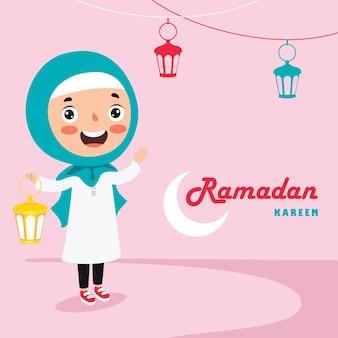 Tarjeta de felicitación de ramadán kareem con niño, lámparas y luna creciente