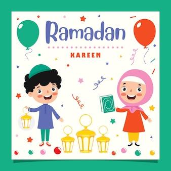 Tarjeta de felicitación de ramadán kareem con niños y accesorios festivos.