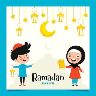 Tarjeta de felicitación de ramadán kareem con niños, lámparas y luna creciente