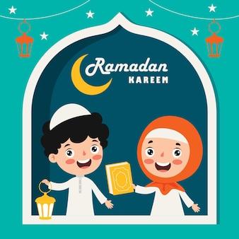 Tarjeta de felicitación de ramadán kareem con niños en una ventana, lámparas y luna creciente