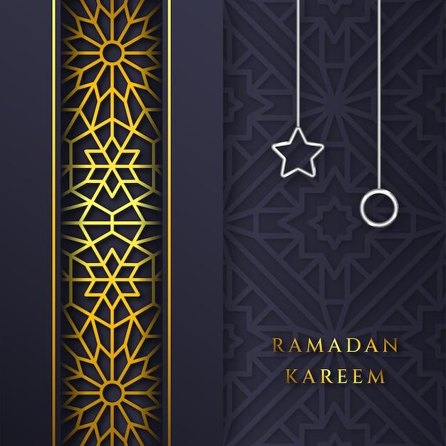 Tarjeta de felicitación de ramadan kareem patrón geométrico islámico con estrella y círculo negro y dorado