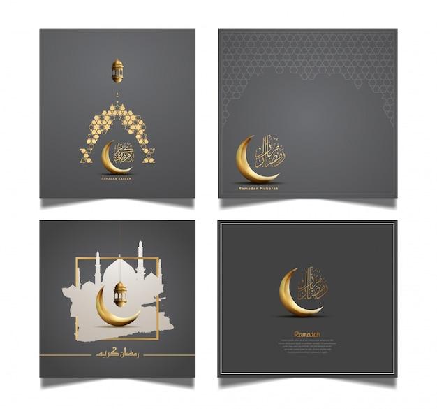 Tarjeta de felicitación de ramadán con luna dorada y linterna