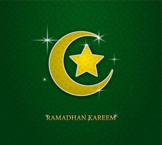 Tarjeta de felicitación de ramadán con luna y estrella