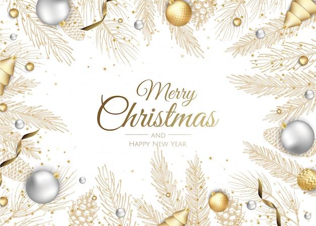 Tarjeta de felicitación de ramas de oro feliz navidad y feliz año nuevo