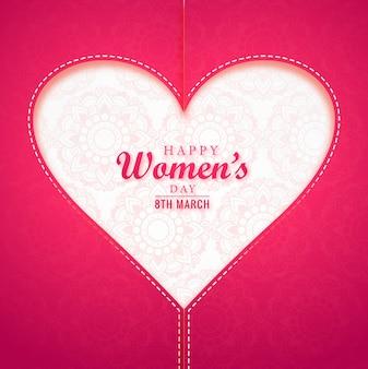 Tarjeta de felicitación realista del día de la mujer con corazón