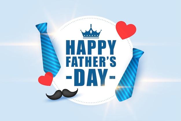 Tarjeta de felicitación realista del día del padre feliz con corazones