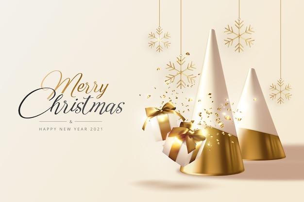 Tarjeta de felicitación realista de navidad y año nuevo con árboles dorados, regalos y copos de nieve.