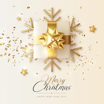 Tarjeta de felicitación realista de navidad y año nuevo con regalo dorado y copos de nieve