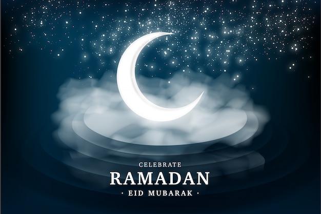 Tarjeta de felicitación realista de ramadán