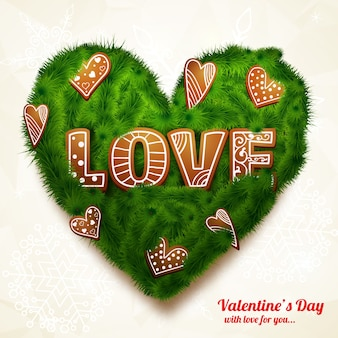 Tarjeta de felicitación realista romántica con inscripción corazón verde de ramas de árboles y figuras decorativas aisladas ilustración vectorial