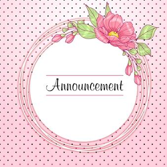 Tarjeta de felicitación redonda rosa con flores y lunares.