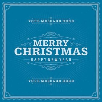 Tarjeta de felicitación retro de navidad y decoración de adornos.