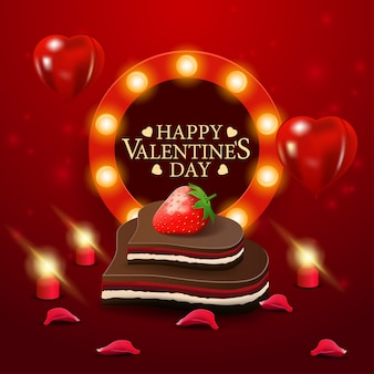 Tarjeta de felicitación roja del día de san valentín con caramelo de chocolate
