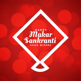 Tarjeta de felicitación roja makar sankranti con cometa de estilo de línea