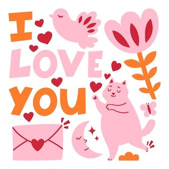 Tarjeta de felicitación de romance del día de san valentín con gato.