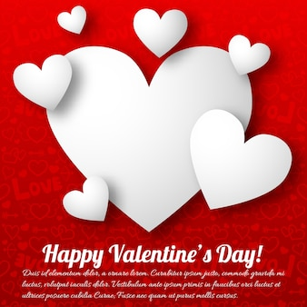 Tarjeta de felicitación romántica con corazones de texto blanco sobre rojo ilustración