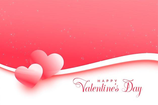Tarjeta de felicitación rosa del día de san valentín con dos corazones