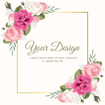 La tarjeta de felicitación con rosa floral se puede utilizar como tarjeta de invitación para bodas, cumpleaños y otros antecedentes de vacaciones y verano.
