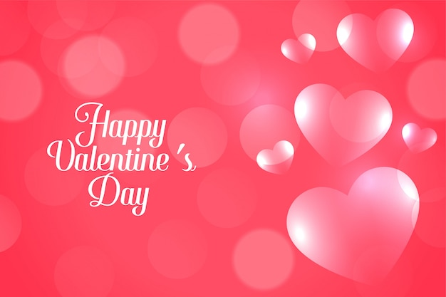 Tarjeta de felicitación rosada atractiva de los corazones del día de san valentín del bokeh