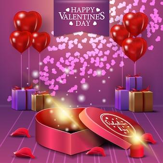 Tarjeta de felicitación rosada del día de tarjeta del día de san valentín con los regalos