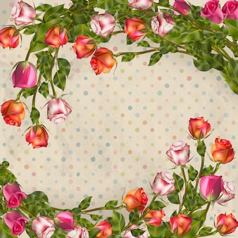 Tarjeta de felicitación con rosas, se puede utilizar como tarjeta de invitación para bodas, cumpleaños y otros antecedentes de vacaciones y verano. archivo incluido