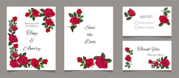 Tarjeta de felicitación con rosas rojas.