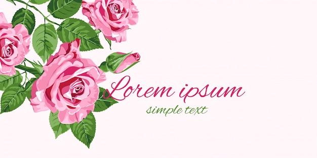 Tarjeta de felicitación de rosas rosadas brillantes con lugar para texto