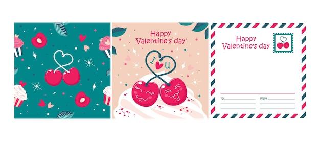 Tarjeta de felicitación de san valentín con cerezas, patrones sin fisuras. colores vectoriales, rosa y esmeralda.
