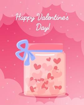 Tarjeta de felicitación de san valentín con corazones en tarro con un lazo