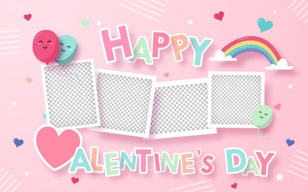 Tarjeta de felicitación de san valentín con decoración en rosa, área en blanco en la foto