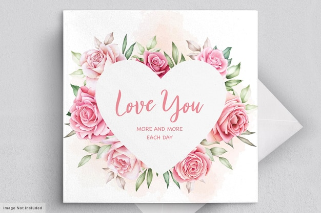 Tarjeta de felicitación de san valentín con hermosas flores y hojas.