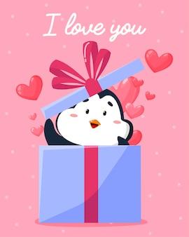 Tarjeta de felicitación de san valentín con un pingüino mirando fuera de la caja de regalo.