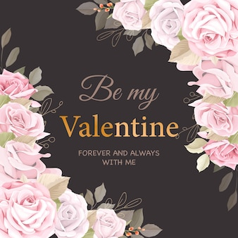 Tarjeta de felicitación de san valentín rosa suave