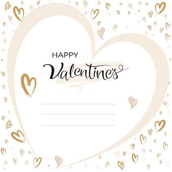 Tarjeta de felicitación de san valentín tipográfica con forma de corazón dibujado a mano.