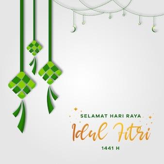 Tarjeta de felicitación de selamat hari raya idul fitri (eid mubarak). ketupat con luna creciente y estrellas