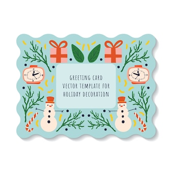 Tarjeta de felicitación sobre un fondo azul con elementos de muñeco de nieve de vacaciones de año nuevo, reloj, regalo y piruleta.