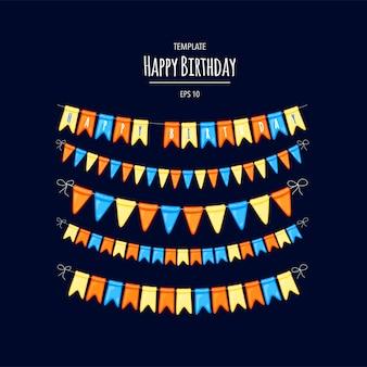 Tarjeta de felicitación. tarjeta de cumpleaños con guirnaldas de banderas. estilo de dibujos animados