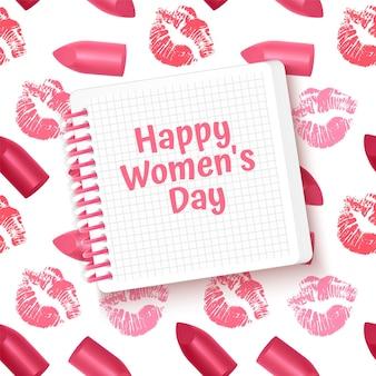 Tarjeta de felicitación tarjeta del día de la mujer feliz con lápiz labial y estampado de beso.