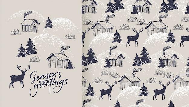 Tarjeta de felicitación de la temporada y patrón con pueblo acogedor y ciervos