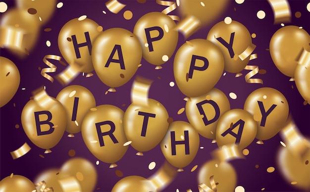 Tarjeta de felicitación con texto feliz cumpleaños en globo dorado y con confeti dorado