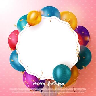 Tarjeta de felicitación de texto de feliz cumpleaños con globos de colores y confeti y espacio para texto para celebración de cumpleaños. .