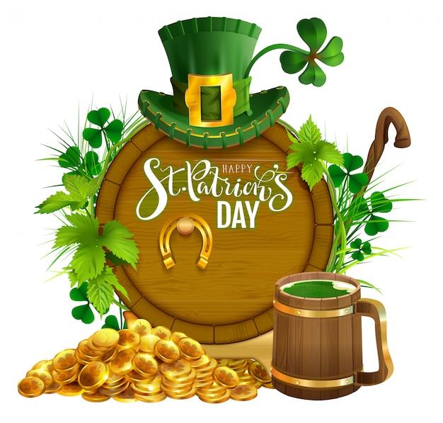 Tarjeta de felicitación del texto de la fiesta del día de san patricio. monedas de oro, barril de madera y jarra de cerveza, herradura de oro, sombrero y trébol de hojas