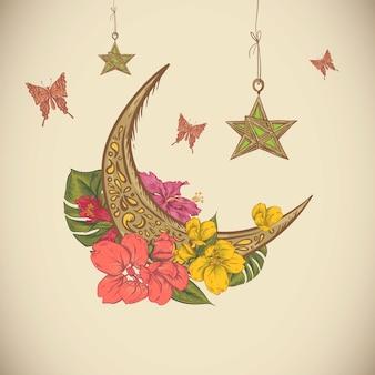 Tarjeta de felicitación tradicional con flores árabes, estrellas y la luna, ilustración vectorial dibujado a mano ramadan kareem