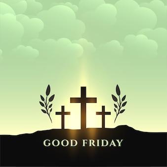 Tarjeta de felicitación tradicional de semana santa de viernes santo
