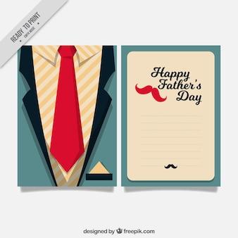 Tarjeta de felicitación de traje plano y corbata para el día del padre