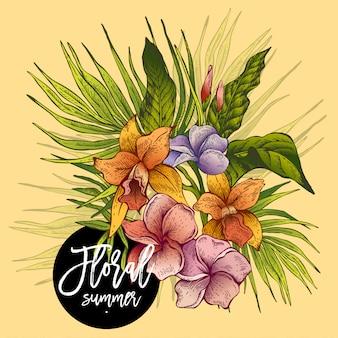 Tarjeta de felicitación tropical floral vintage